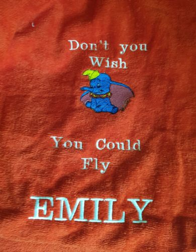 Personalised embroidered red dumbo  beach towel